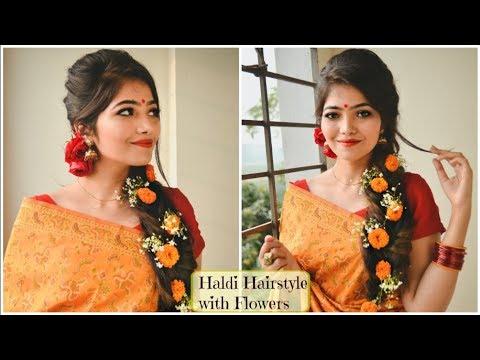 Bridal Haldi Hairstyle With Flowers Pohela Falgun Hairstyle