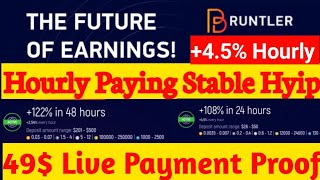 Bruntler.com Hourly 4.45% Instant Paying Deposit & Withdraw 35$ | New Hyip SIte 2020 100% Legit