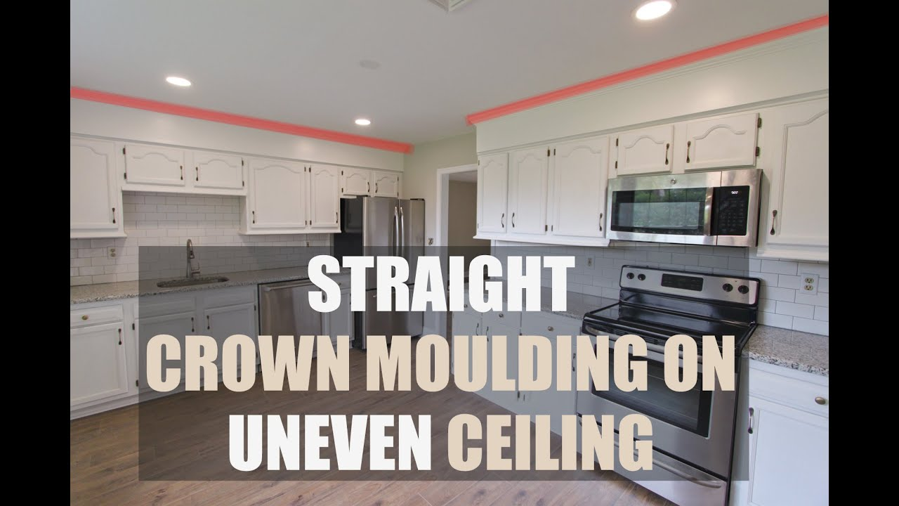 How To Install Crown Moulding On Uneven Ceiling Hide Wavy Ceiling With Crown Youtube