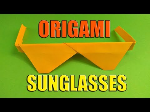 Origami Sunglasses. How To Make Glasses From Paper. Easy Paper Craft For Children. Funny Origami