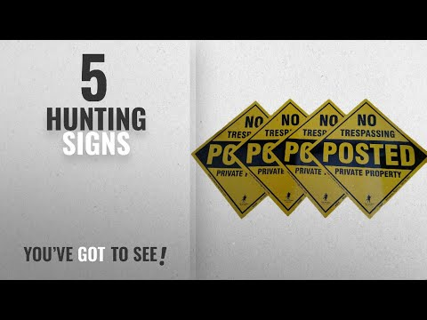 Top 10 Hunting Signs [2018]: Aluminum Yellow No Trespassing Posted Diamond Shaped Signs 4 Pack