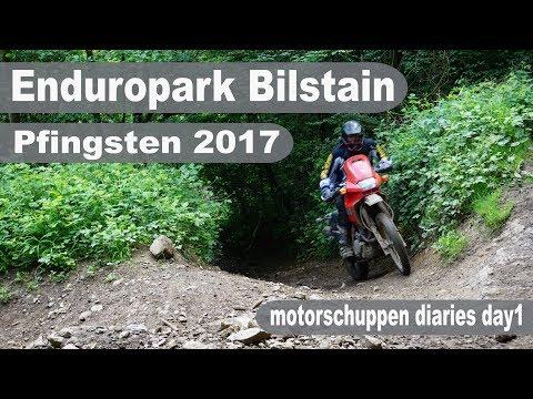Bilstain Enduropark mit der Honda Dominator und der Suzuki DR650 Motorschuppen Vlog Tag1