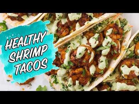 Healthy Shrimp Tacos With Cabbage Slaw And Cilantro Lime Sauce