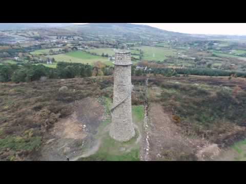Ballycorus Lead Mine Flu Chimney, Carrickgollgan Hill drone footage