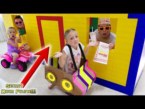 GIANT LEGO FORT In-N-Out Drive Thru! Exploring SECRET DOOR Found!