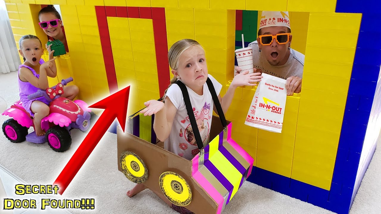 Download GIANT LEGO FORT In-N-Out Drive Thru! Exploring SECRET DOOR Found!