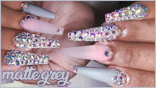 Matte Grey Polygel Bling Full Set | ModelOnes Starter Kit Review