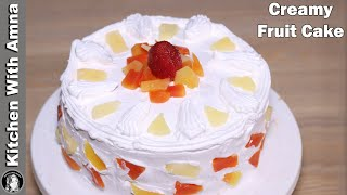 Creamy Fruit Cake Recipe Without Oven   2020 Eid Recipes   Kitchen With Amna