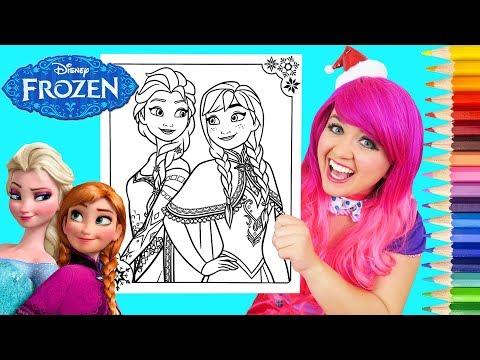 Coloring Frozen Elsa & Anna Coloring Book Page Prismacolor Colored Pencils | KiMMi THE CLOWN