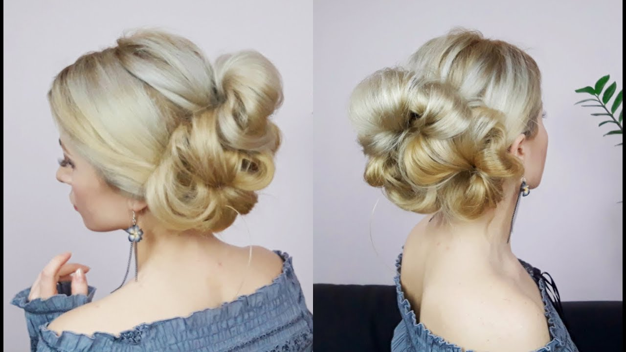 QUICK AND EASY HAIRSTYLE VOLUMINOUS EASY UPDO FROM BUNS | Awesome ...