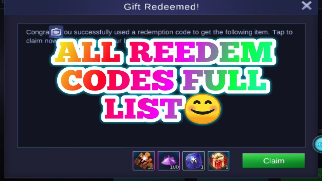 LIST WITH ALL REDEEM CODES | EXCHANGE CODES MOBILE LEGEND