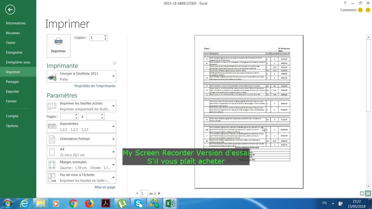 Excel Imprimer Un Tableau Long Sur Une Seule Page Youtube