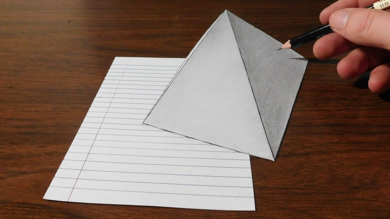 Drawing A Simple 3d Pyramid Optical Illusion Trick Art