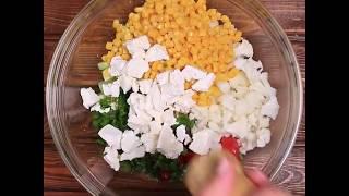 Быстрый рецепт легкого овощного салата с брынзой