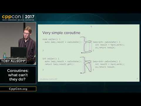 """CppCon 2017: Toby Allsopp """"Coroutines: what can't they do?"""""""