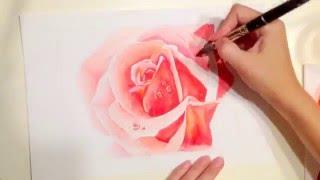 How to draw rose, aquarelle (как рисовать розу акварелью) / speed drawing(How to draw rose, aquarelle (как рисовать розу акварелью) / speed drawing/ Yana Gorbatiyk., 2016-04-13T19:55:59.000Z)