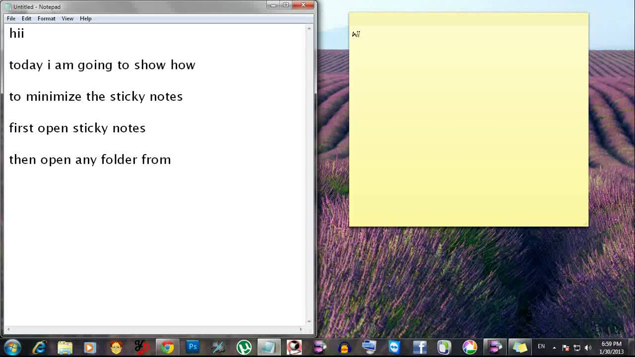 how to open sticky notes windows 7