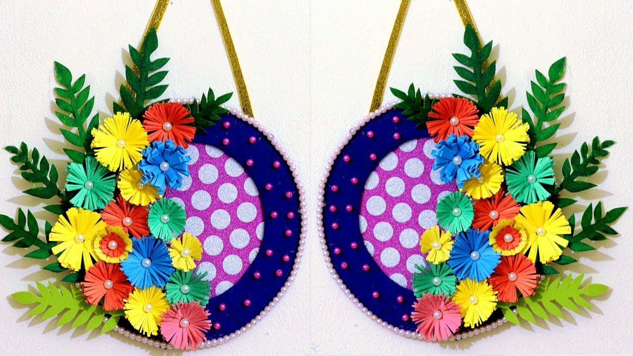 How To Make A Paper Flower Wall Hanging Easy Wall Decoration Ideas