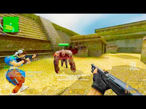 Counter Strike Source - Zombie Riot Mod Online Gameplay On Aztec Map