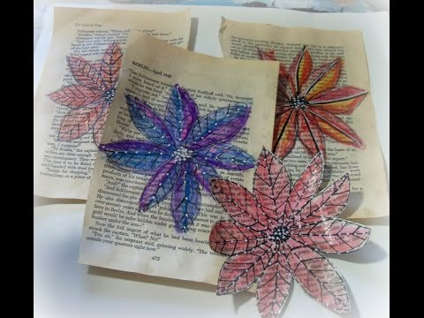 how to make watercolor book page doodle flowers/ DIY Watercolor paper flowers