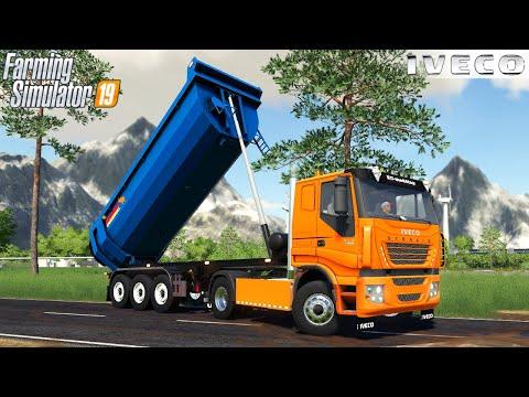 Farming Simulator 19 - IVECO STRALIS Truck Unloads Gravel For Bridge Construction |