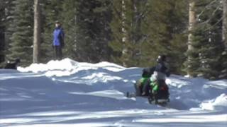 Arctic Cat F120 Snowmobile Kids on a California Riding Day