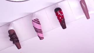 🍫 Chocolate Nail Designs Coffin Acrylic Gel Nails Tutorial 🎀