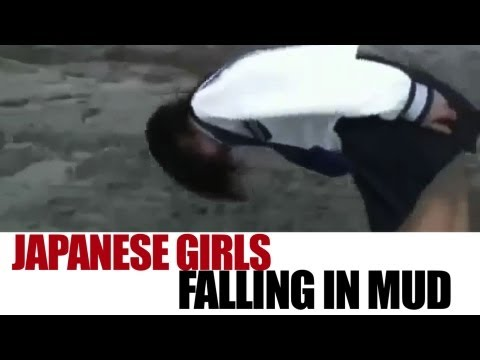 Japanese Girls Falling in the Mud