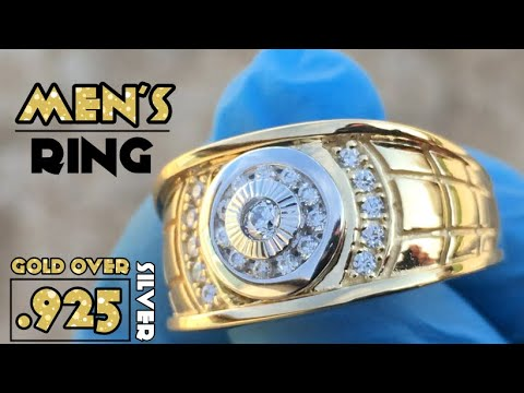 Men's Ring 14K Gold Plated On 925 Solid Sterling Silver 2 Tone Solitaire