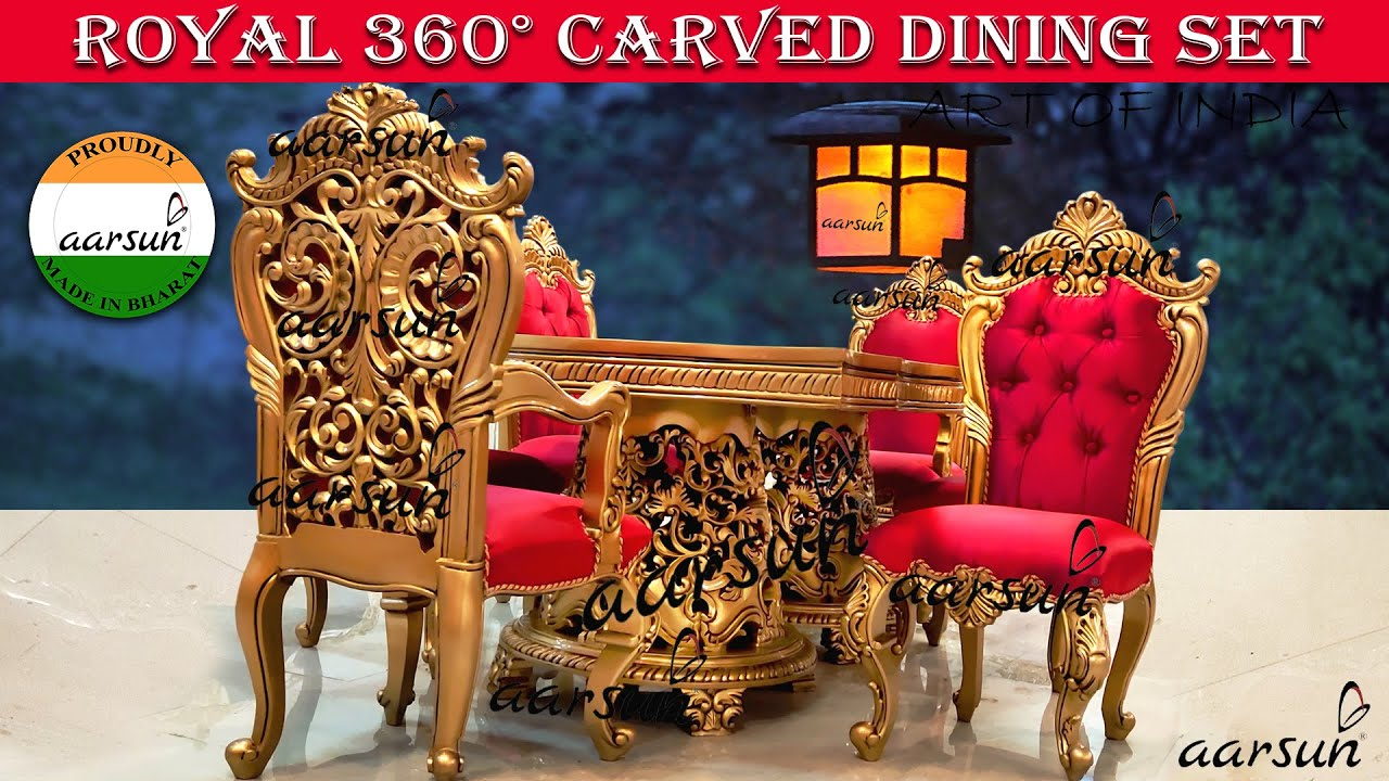 #269 State-of-the-Art Dining Set 6 Seater in Gold Paint & Pink by Artisans @Aarsun - Art of India