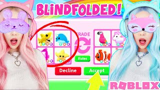 I Challenged My TWIN To A BLINDFOLDED TRADE CHALLENGE In Adopt Me... Roblox Adopt Me Trading