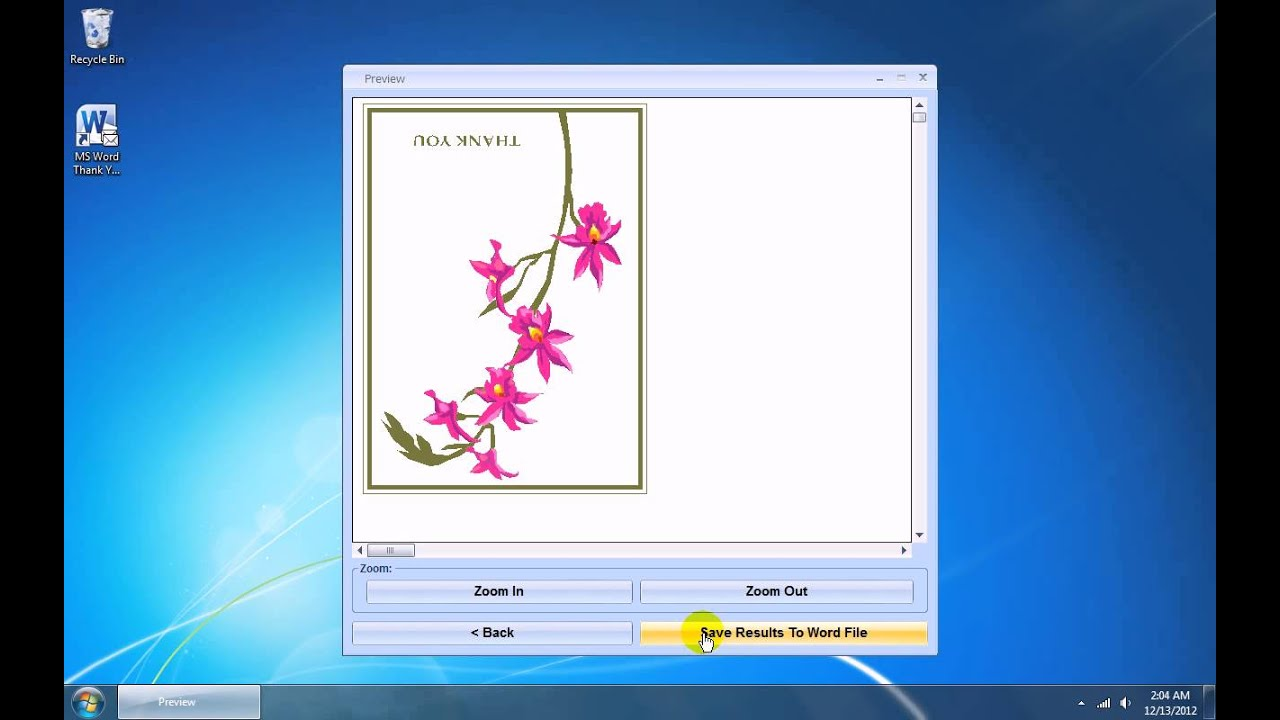 How To Use Ms Word Thank You Card Template