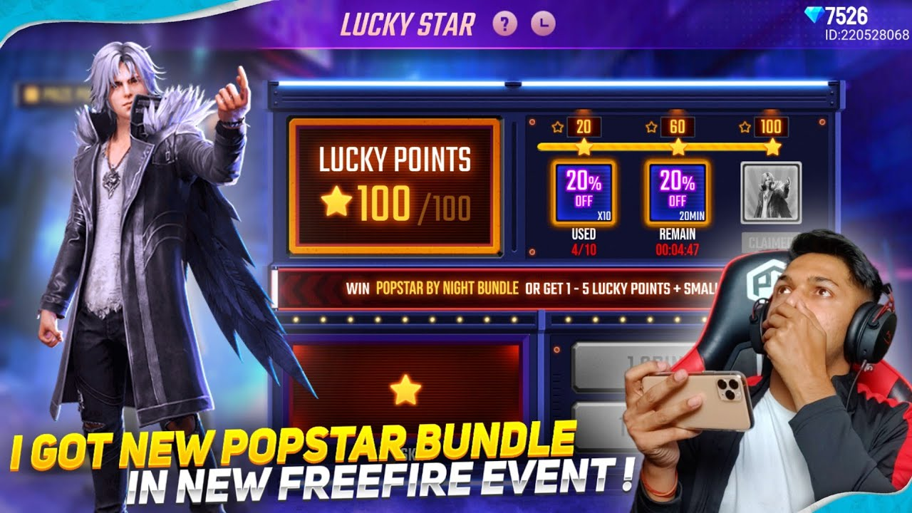 New Lucky Star Event I Got New Popstar By Night Bundle Garena Free Fire 2020