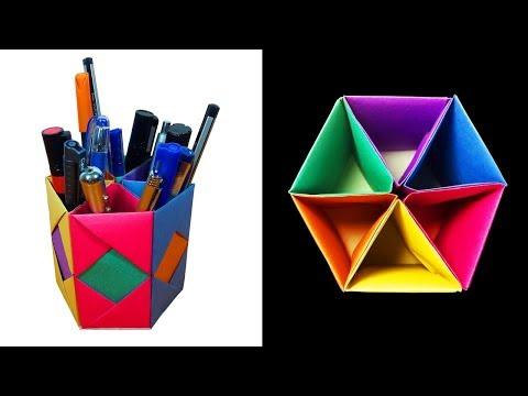 Simple pen holder origami folding instructions – life hack | 360x480