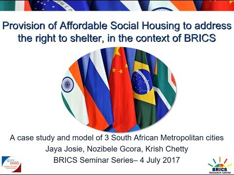 HSRC BRICS Seminar: Provision of Affordable Social Housing to address the right to shelter