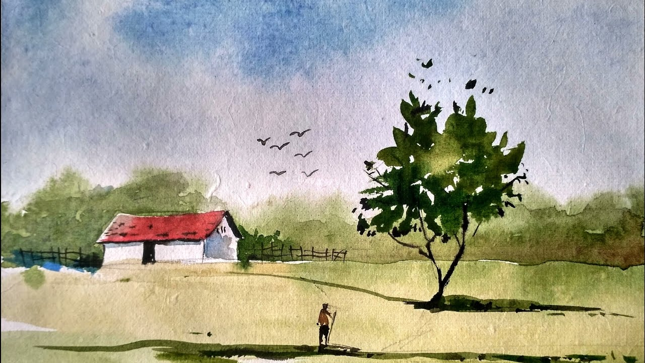 simple watercolor landscape painting, watercolor painting ...