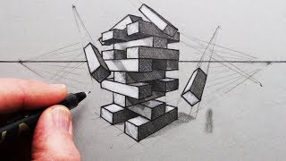 How to Draw using 2-Point Perspective: A Jenga Tower of Blocks