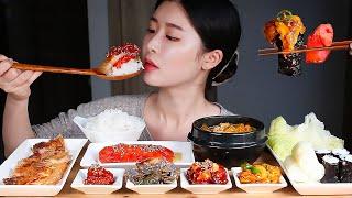 흰쌀밥에 각종젓갈(명란젓 낙지젓 멍게젓 갈치속젓 칠게장…