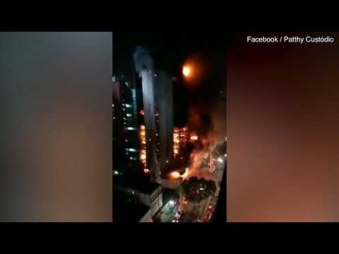 A fire has ripped through a 26 floor building in Brazil, leaving at least one person dead