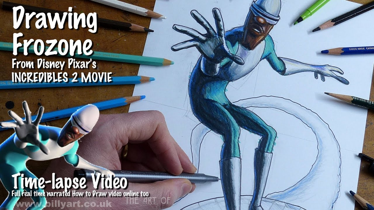 Drawing Frozone from Incredibles 2 voiced by Samuel L ...