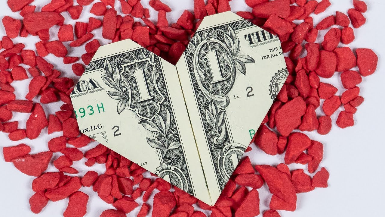 Money origami HEART ️ Dollar bill origami heart folding ... - photo#4