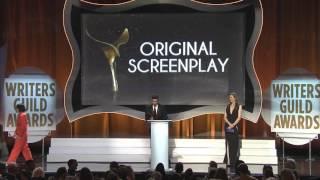 Geena Davis presents the 2016 WGA Original Screenplay Award to Spotlight's Josh Singer