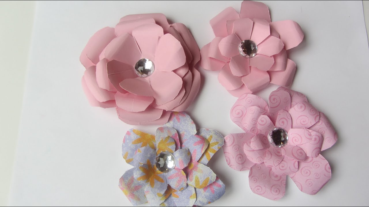 Making paper flowers folding tutorial with a little bling youtube mightylinksfo