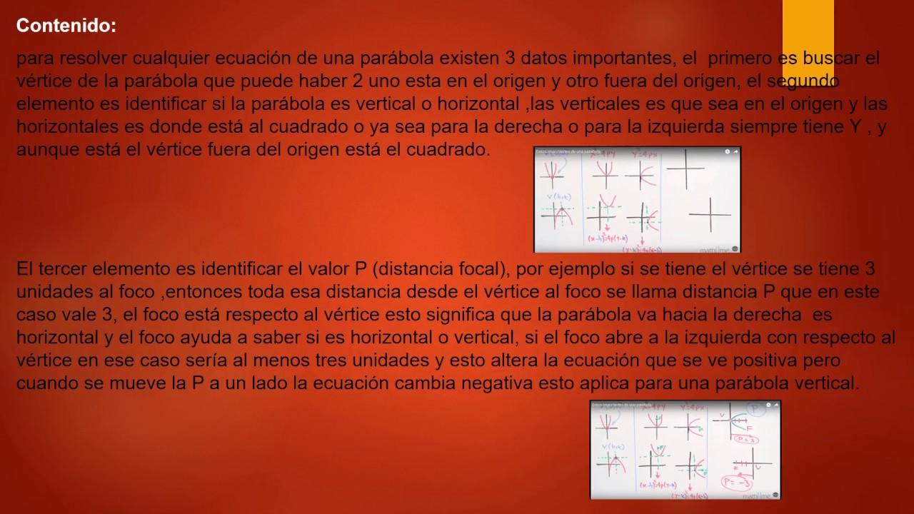 2 Resumen profesional de Datos importantes de una parabola - YouTube