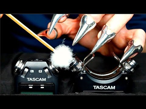ASMR Tascam Vs Tascam Japanese Fluffy Ear Pick, Mascara Wands, Claw Tapping & Scratching (No Talking