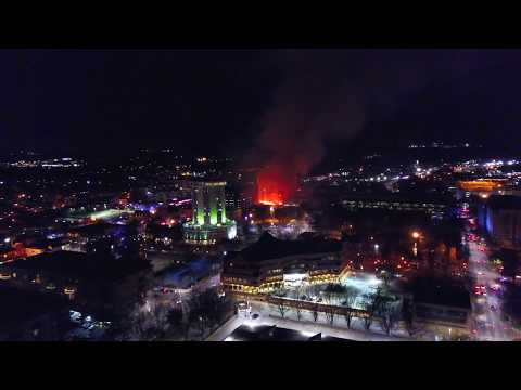 4K Drone footage of fire in Downtown Raleigh 2017