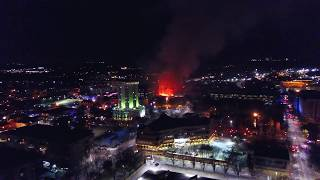 4K DJI Mavic Pro Drone footage of fire in Downtown Raleigh 2017