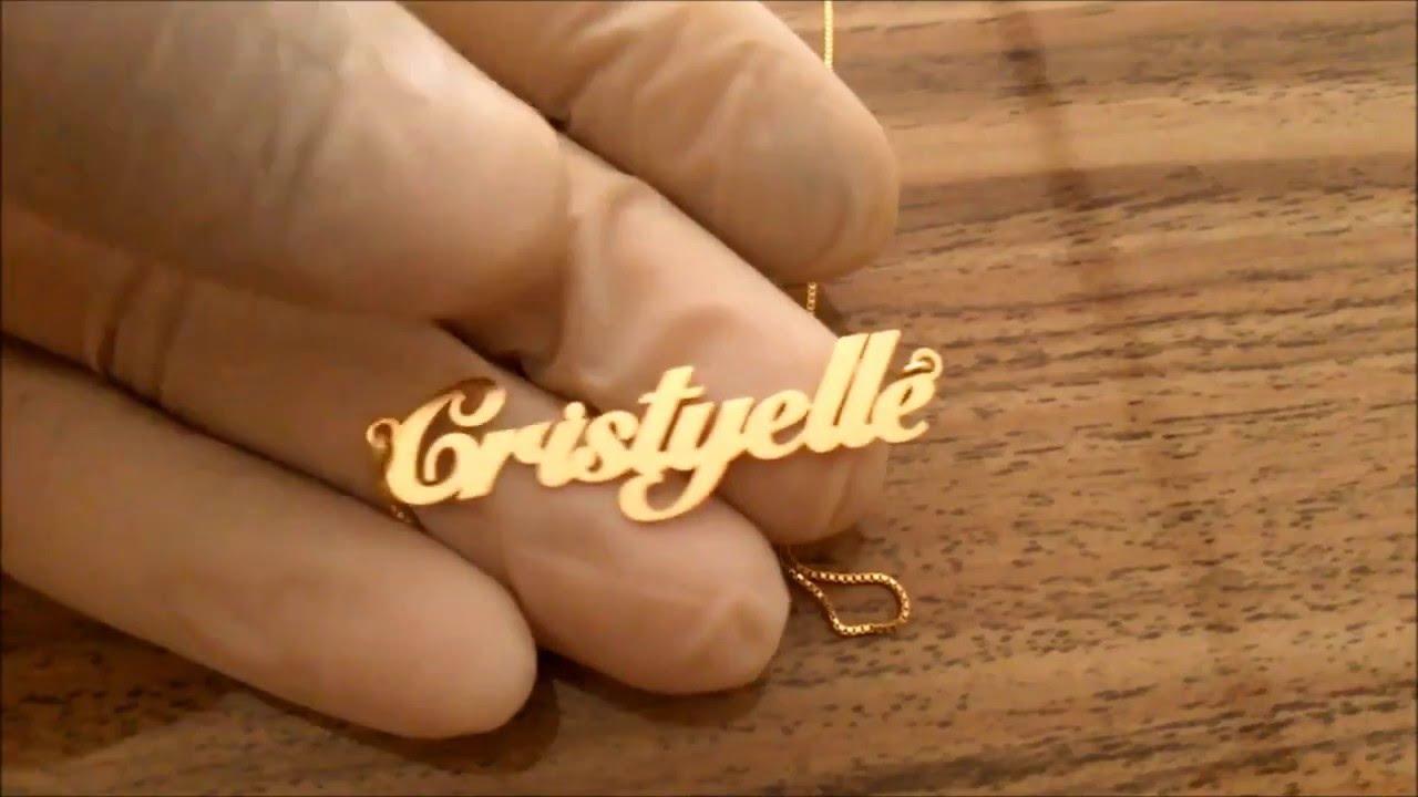 Colar Com Nome Personalizado em Prata Banhado a Ouro 24K - YouTube c92e9bb649
