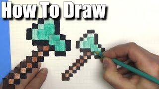 How To Draw a Minecraft Axe - EASY - Step By Step - Pixel Art