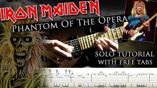 Iron Maiden - Phantom Of The Opera Dave Murray's 1st solo lesson (with tabs and backing tracks)